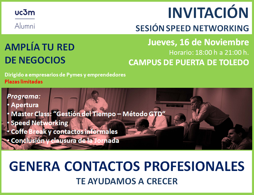 Cartel de la invitación a Speed Networking