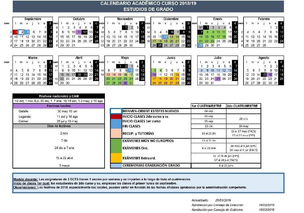 Calendario 2019 Escolar 2020 Madrid.Calendarios Academicos Uc3m