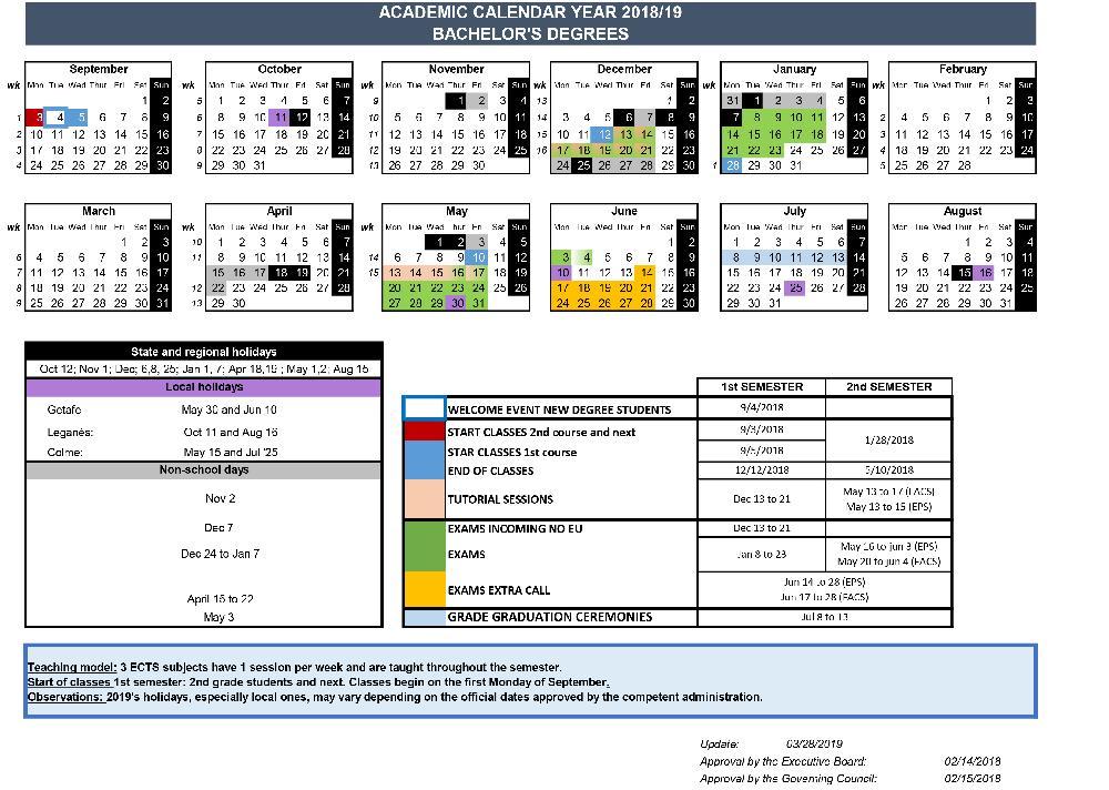 Calendario Timing.Academic Calendars Uc3m