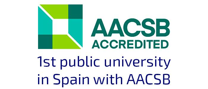 Logo of the AACSB accreditation seal obtained by the uc3m